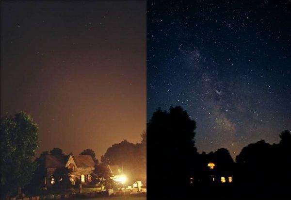 Звёздное небо в обычную ночь и во время отключения электричества во всём районе
