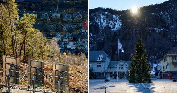 Норвежский город Рьюкан и его огромные зеркала