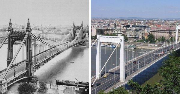 Мост Эржебет в Будапеште до и после восстановления