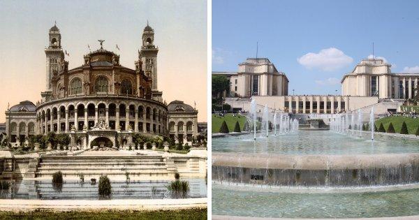 Дворец Трокадеро и построенный на его месте Дворец Шайо, Париж