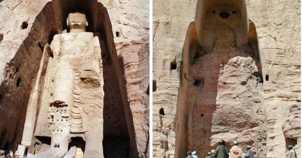Бамианская статуя Будды в Афганистане до и после разрушения