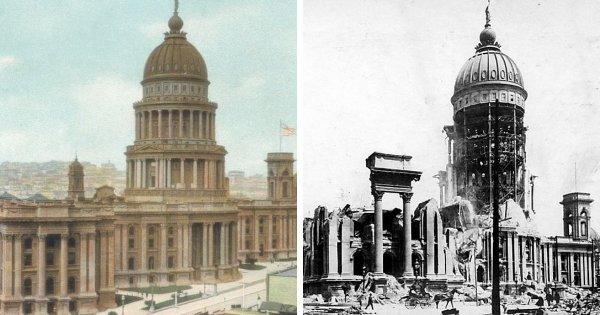 Старая ратуша Сан-Франциско до и после землетрясения в 1906 году