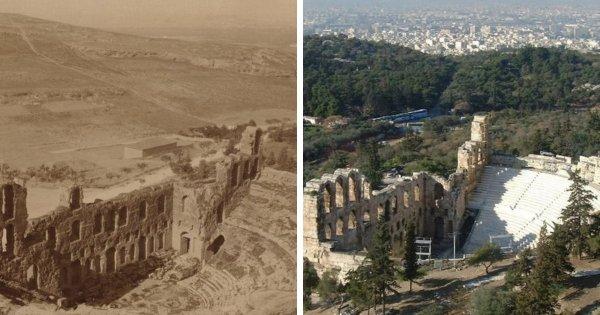 Одеон Герода Аттика в Афинах в 1900 и в 2017 году