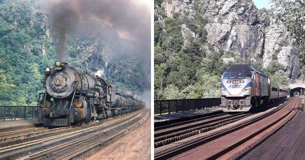 Поезда в американском посёлке Харперс Ферри в 1947 и в 2021 году