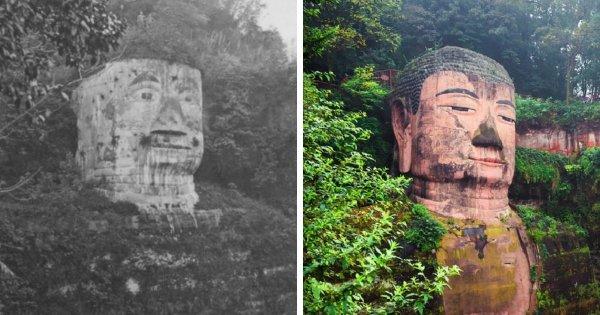 Статуя Будды в Лэшане, Китай (1920-е и 2010-е)