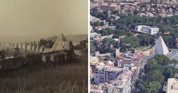 Как выглядела пирамида Цестия в Риме в 1750 году, и какая она сейчас