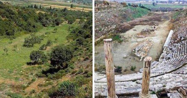 До и после раскопок в Греции