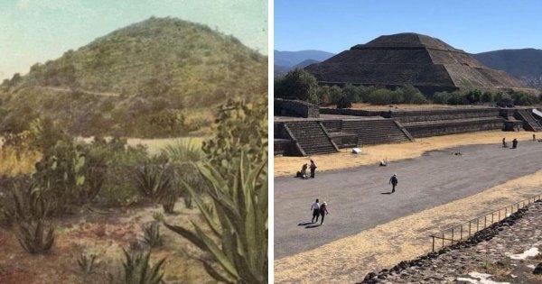 Теотиуакан-де-Ариста — древний город в Мексике в 1900 году и сейчас