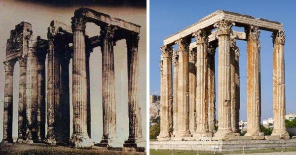 Храм Зевса в Афинах, 1842 и 2019 год