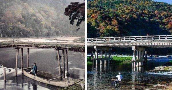 Мост Тогэцу в Японии в 1870 году и сейчас