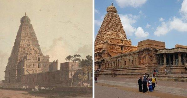Храм Брахадисвара в Индии, 1798 и 2016 год