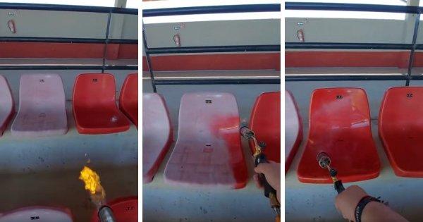 Как восстанавливают пластиковые сиденья на стадионах