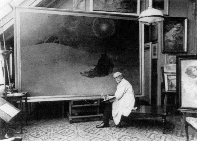 Альфонс Муха в своей мастерской пишет картину «Зимняя ночь. Сибирь». 1920-1923 гг. Прага. Чехия.