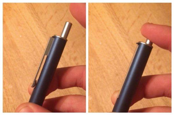 Эту ручку нельзя прикрепить в карману в открытом виде — больше никаких пятен от чернил
