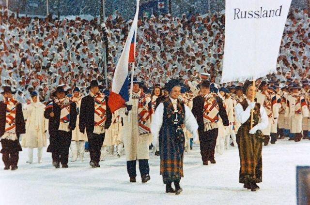 Торжественное шествие команды России на церемонии открытия XVII зимних Олимпийских игр