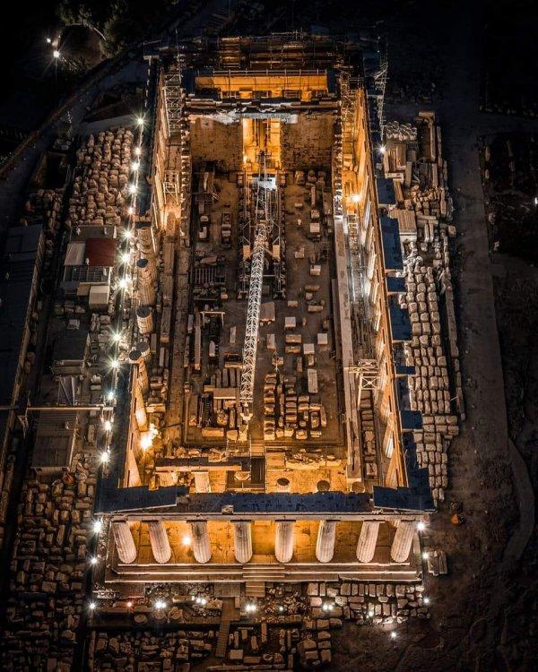 Парфенон в Афинах, вид сверху
