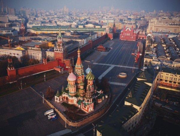 Храм Василия Блаженного и Красная площадь в Москве, вид сверху