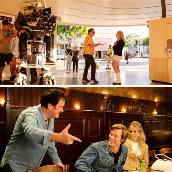 Квентин Тарантино дает указания Марго Робби и Брэду Питту на съемочной площадке фильма «Однажды в... Голливуде»