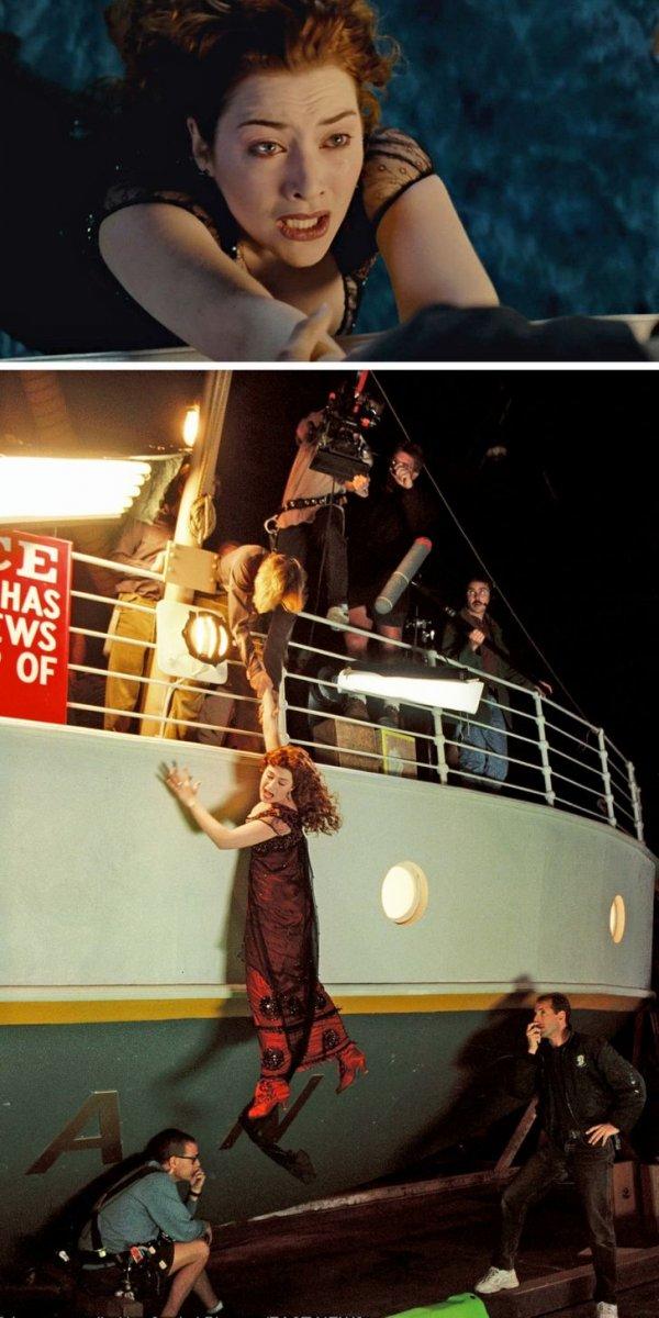 Знаменитая сцена, когда герой Леонардо Ди Каприо спасает Роуз (Кейт Уинслет) на корме «Титаника», за кадром выглядит не менее эффектно