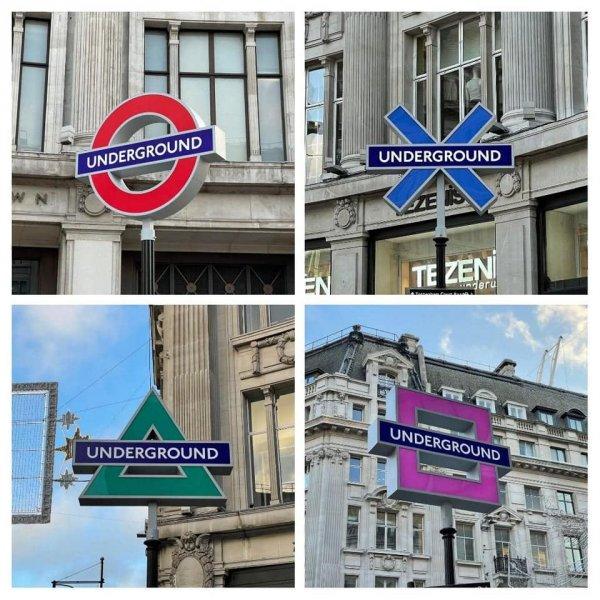 Знаки станции метро возле штаб-квартиры PlayStation в Лондоне