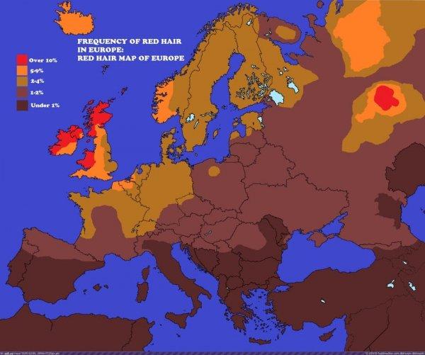 Карта рыжеволосых людей