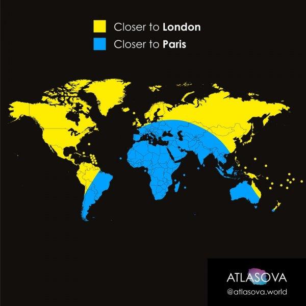 В жёлтом участке карты вы будете ближе к Лондону, а в голубом — к Парижу