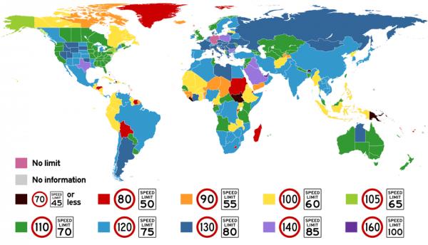 Максимальная разрешённая скорость на дорогах