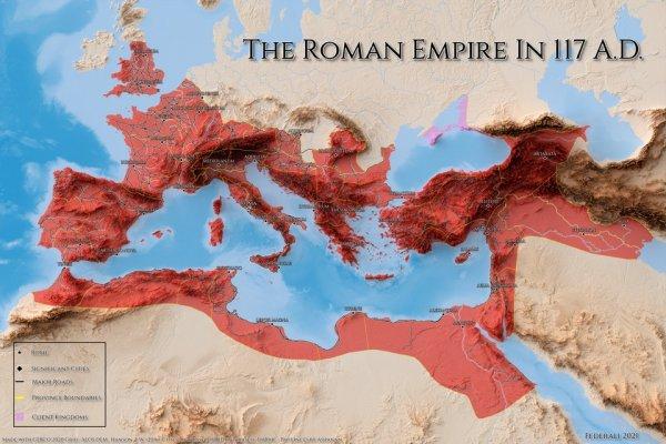 Римская Империя в 117 году нашей эры — в то время она достигла максимума своей территории