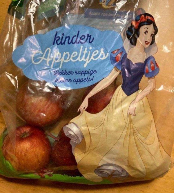 Белоснежка на упаковке с яблоками...хм...