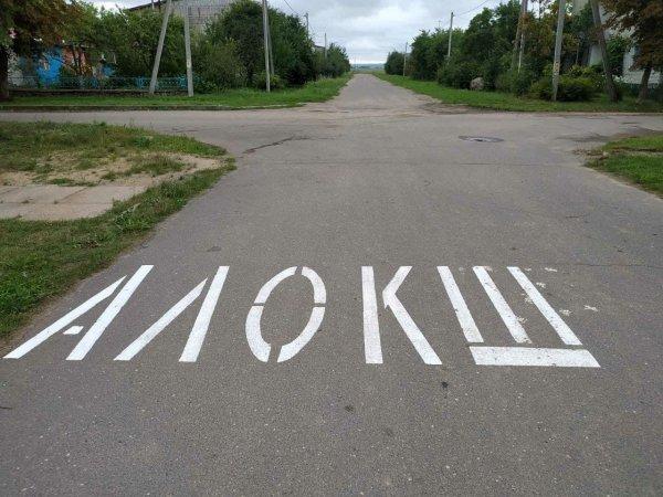 Нестандартная дорожная разметка в белорусском агрогородке Заскович