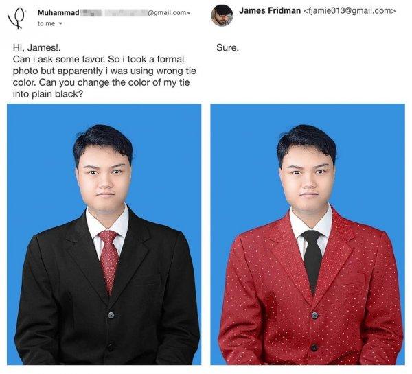 Привет, Джеймс! У меня к тебе просьба. Я сделал официальную фотографию, но, видимо, надел неподходящий галстук. Не мог бы ты поменять его цвет на чёрный?