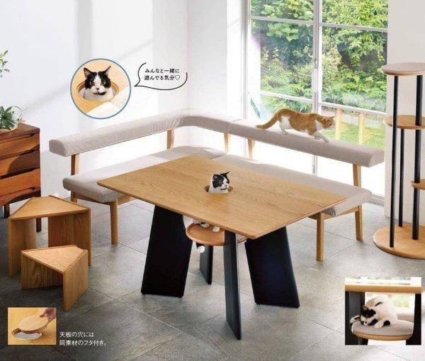 В Японии выпустили специальный кухонный стол с отверстием для кота, чтобы тот мог стать полноценным участником трапезы
