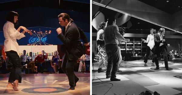 Квентин Тарантино пританцовывает за кадром знаменитой сцены из «Криминального чтива»