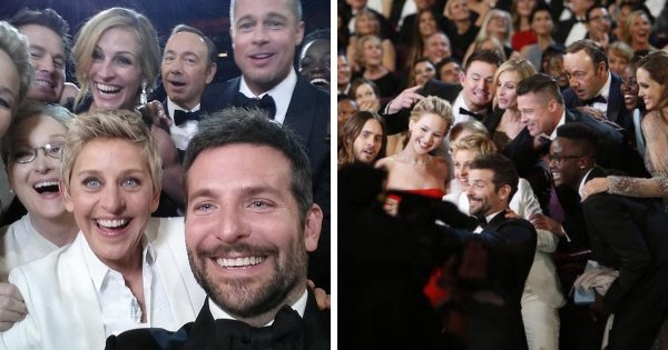 Знаменитое селфи со звёздами, сделанное на церемонии вручения премии «Оскар» в 2014 году