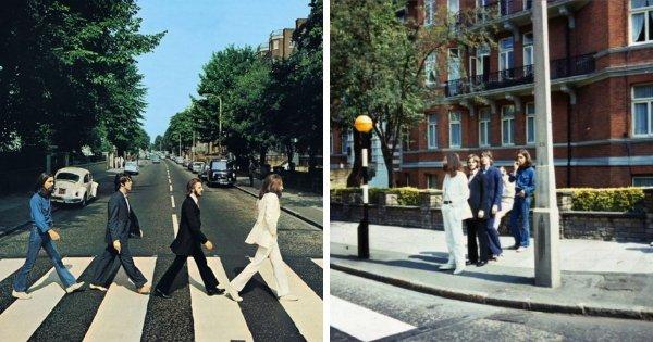 Снимок, сделанный за мгновение до создания легендарной обложки альбома The Beatles «Abbey Road»