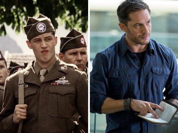 Том Харди сыграл рядового Джона Яновеча в двух сериях сериала «Братья по оружию»