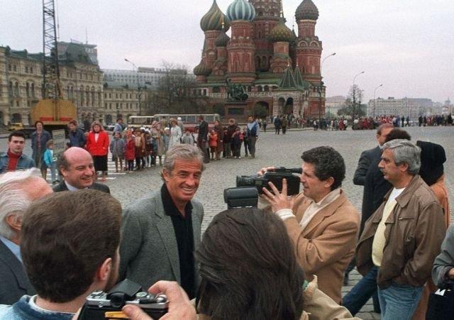 Жан-Поль Бельмондо на Красной площади. 1989 год.