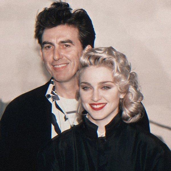 Джордж Харрисон и Мадонна на премьере фильма «Шанхайский сюрприз» в Лондоне, 1986 год