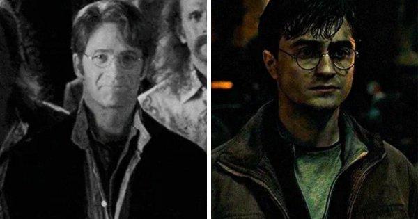 Одежда Гарри и Невилла во время битвы за Хогвартс копирует наряды их отцов на старой фотографии