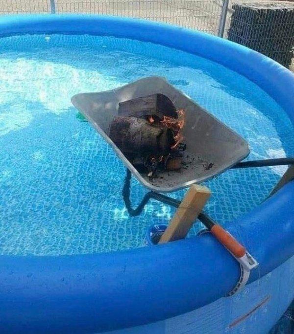 Решил согреть воду в бассейне