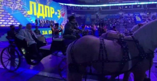Владимир Жириновский приехал на собрание ЛДПР на тройке лошадей