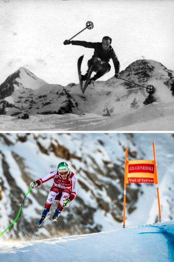 Лыжник 100 лет назад и сейчас
