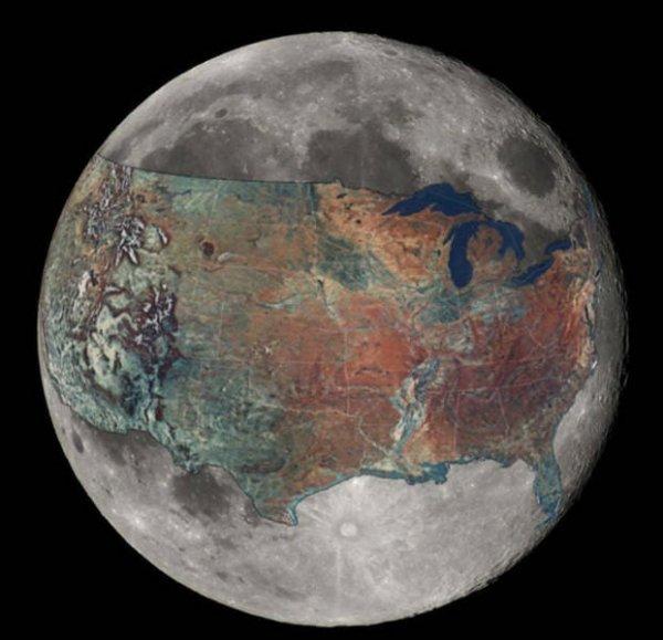 Размер Луны по сравнению с размером США