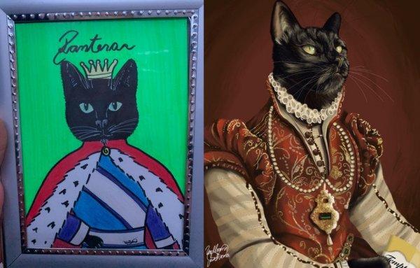 Я сделала портреты своей кошки: 2 года назад и 5 минут назад