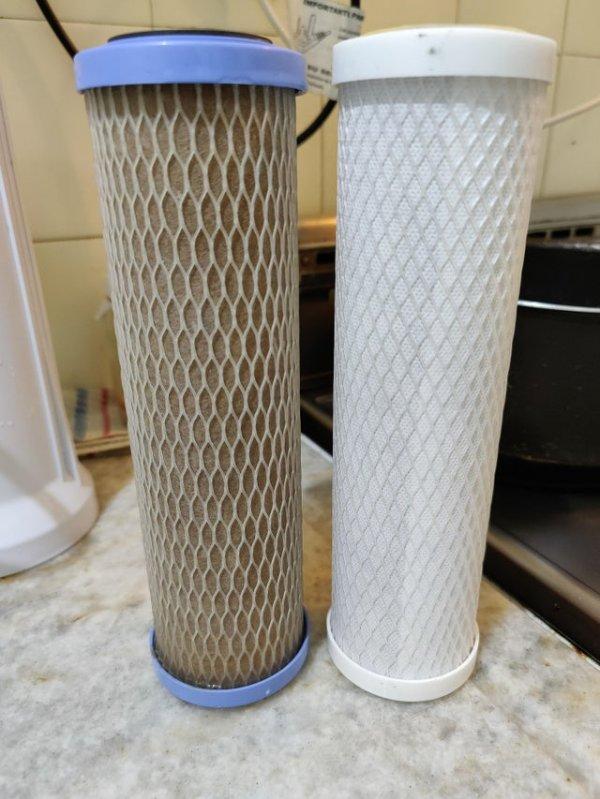 Фильтр после 6000 литров воды и новый