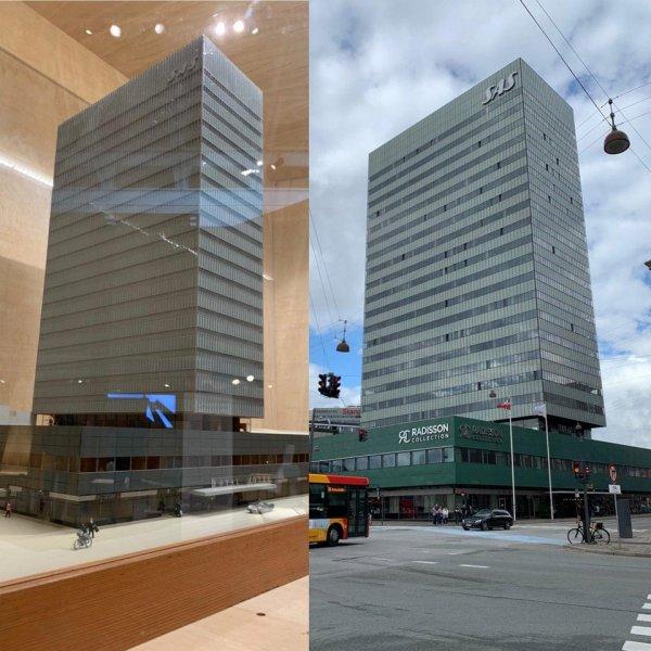 Модель здания и то, как оно выглядит в реальности