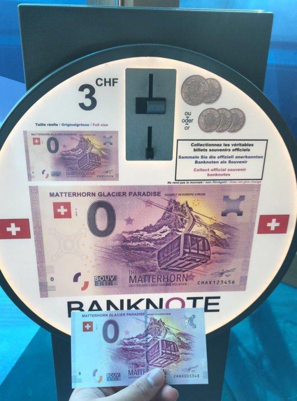 В Швейцарии можно купить купюру номиналом € 0, заплатив $ 3,25. В качестве сувенира, конечно же.