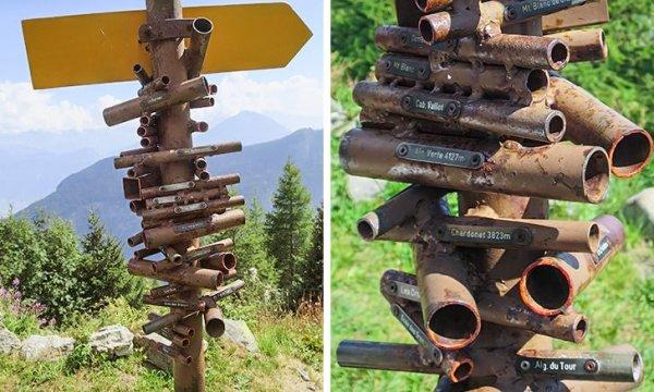 Это указатель с трубами, через которые можно смотреть на определенные горы