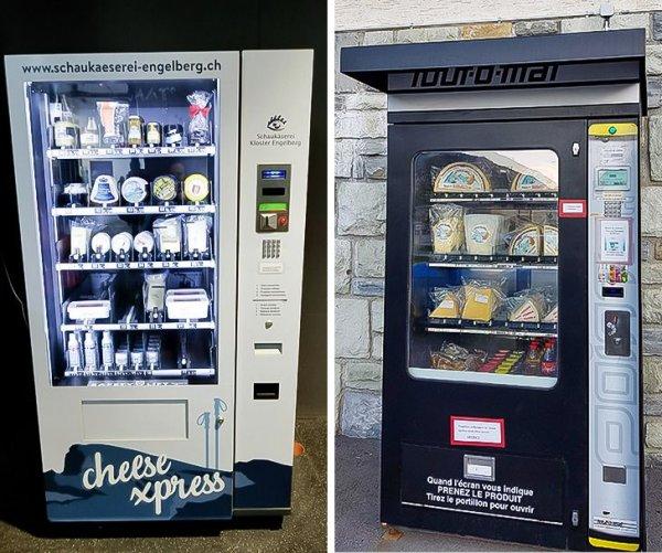 Везде стоят автоматы со сладостями и газировкой, а в Швейцарии с сыром