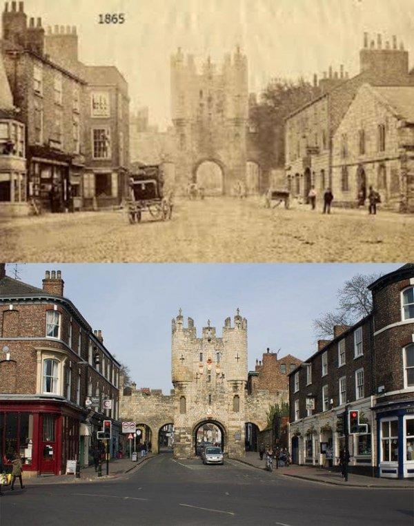 Главный въезд в город, Йорк, Англия, 1865 и 2015 годы